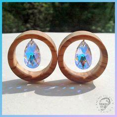 Image of Olive Wood & Dangle Swarovski Crystals Tunnels