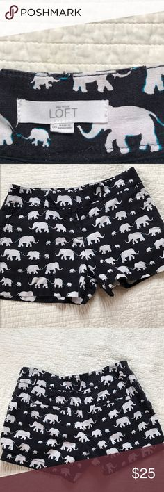 Loft elephant shorts Loft elephant shorts. Preloved but I'm good condition with no stains . Size 00. Waist 15' across. Leg length 11.5' LOFT Shorts