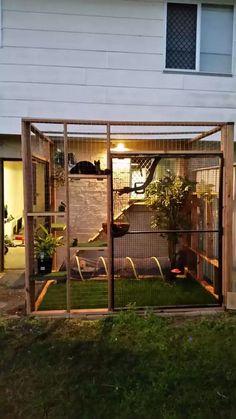 Secured Cat Garden Ideas: Fencing Catio - Unique Balcony Garden Decoration and Easy DIY Ideas Diy Playground, Playground Design, Cat Garden, Balcony Garden, Condo Balcony, Outdoor Cat Enclosure, Reptile Enclosure, Cat House Diy, Cat Towers