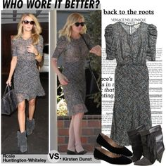 Who Wore It Better:Rosie Huntington-Whiteley or Kirsten Dunst in H&M Silk dress?
