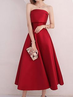 15adf4c20e6 Red A-Line Cocktail Wedding Midi Dress Выпускные Платья