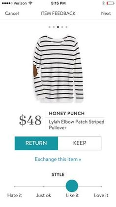 Stitch Fix Honey Punch Lylah Elbow Patch Striped Pullover