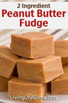 Easy Peanut Butter Fudge -I can't believe this recipe has only 4 INGREDIENTS! You probably already know that I'm a sucker for easy recipes. This Easy Peanut Butter Fudge Recipe only has 4 ingredients. 2 Ingredient Peanut Butter Fudge Recipe, 2 Ingredient Recipes, Peanut Butter Recipes, Easy Peanut Butter Fudge, Easy Fudge, Simple Fudge Recipe, 2 Ingredient Cookies, 2 Ingredient Fudge, Vegan Fudge