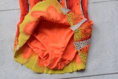 Orange Yellow Red Black rhythmic gymnastics leotard by TopLeotards