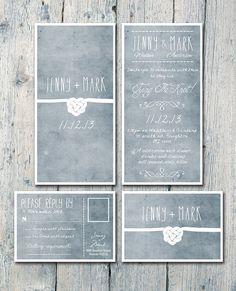 ♥♡♥ Digital - druckbare Dateien - beidseitig - binden den Knoten Hochzeitseinladung und Antwort Card Set - Hochzeit Briefpapier - ID209-♥♡♥-♥♡♥