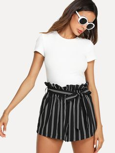 Buy Black Belted Ruffle Waist Striped Shorts for Women at Fashiontage. Black Shorts Outfit, Summer Shorts Outfits, Lazy Day Outfits, Casual Summer Outfits, Short Outfits, Stylish Outfits, Spring Outfits, Cute Outfits, Fashion Outfits