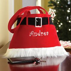 Send Santa Purse from Personal Creations. Fast shipping and nationwide delivery. Christmas Purse, Christmas Goodies, Christmas Ideas, Personalized Christmas Gifts, Gym Bag, Santa, Shoulder Bag, Purses, Stylish