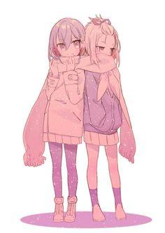 kokomine cocona and yayaka (flip flappers) drawn by nogi (noooog) Anime Girlxgirl, Anime Girl Neko, Yuri Anime, Anime Art, Bff Poses, Anime Best Friends, Anime Siblings, Anime Friendship, Japon Illustration