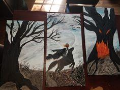 Headless horseman, mixed media canvas, painted canva. Headless Horseman, Mixed Media Canvas, Moose Art, Painting, Animals, Animales, Animaux, Painting Art, New Media Art