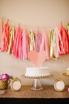 Tassel garland by the talented StudioMucci - a dessert table full of sweet whimsy! Photo by Lauren Rae Photo http://www.theperfectpalette.com/2014/01/a-chic-and-swanky-kate-spade-inspired.html