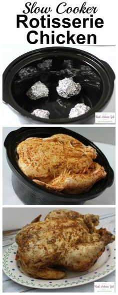 If you want to buy a whole chicken at the grocery store but your not sure what to do with it this is the solution. Cook a slow cooker rotisserie chicken. Crock Pot Freezer, Crock Pot Slow Cooker, Crock Pot Cooking, Pressure Cooker Recipes, Freezer Meals, Crockpot Recipes, Cooking Recipes, Chicken Recipes, Turkey Recipes