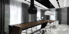 Projektowanie wnętrz - wyspa kuchenna z barkiem i jadalnia. Więcej wizualizacji na http://www.artcoredesign.pl/Projekty/so-choco-luksusowa-rezydencja/  Więcej luksusowych projektów wnętrz na http://www.artcoredesign.pl/