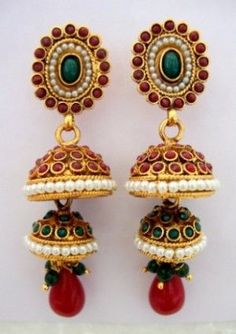 Golden red n green pearls double step Jhumka
