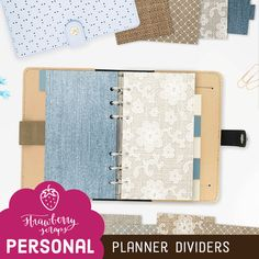 Planner dividers: BURLAP DENIM & LACE  by StrawberryScraps on Etsy