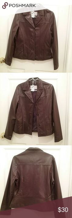 Genuine Leather Jacket #132C Dark beautiful brown leather jacket; butter soft and mint condition; button front; front seam pockets; inside concealed zip pockets; tailored to fit waist length; Sz-M;  arm pit--20in; waist---17in; shoulders---16in; sleeves---25in; length---23in;  brown, brown, go downtown....dressy or sporty... Wilsons Leather Jackets & Coats