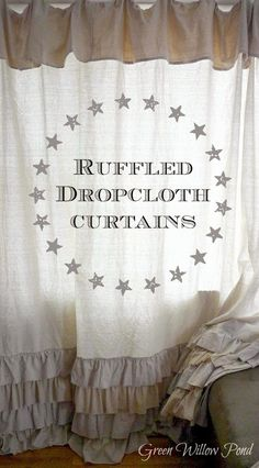 Green Willow Pond: Ruffled Dropcloth Curtains