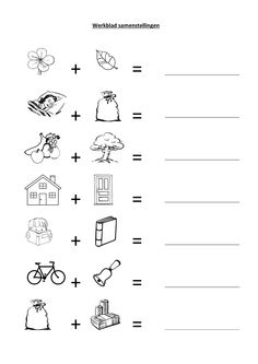 Eenvoudige samenstellingen oefenen Speech Language Therapy, Speech And Language, Aperol, Dutch Language, Teachers Aide, Educational Crafts, Home Activities, Preschool Worksheets, Science Experiments