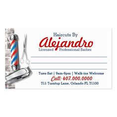 Barber business card barber pole shears cheaphphosting Image collections