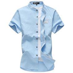 Men Short Sleeve Fashion Shirts Casual Slim Fit Mandarin Collar White Shirts for Men
