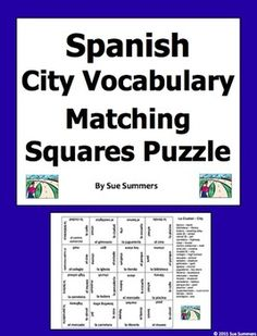 Spanish City Vocabulary Matching Squares Puzzle  by Sue Summers - Magic Squares