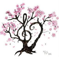 Cherry Blossom Music Tattoo - love the concept of a treble clef as the tree trunk