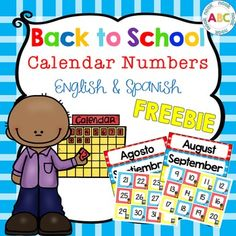 Back to School Calendar Numbers (English and Spanish) FREEBIE – School Calendar İdeas. Calendar Numbers, Calendar App, Online Calendar, Free Printable Calendar, Calendar Ideas, Calendar Bulletin Boards, Classroom Calendar, School Calendar, Preschool Orientation