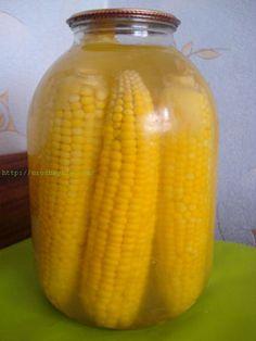 Кукуруза на зиму Готовим кукурузу на зиму! Молодую кукурузу сварить в несоленой воде до готовности. Початки разложить стоя в стерилизованные банки и залить горячим рассолом. Поставить стерелизоваться на 20-30 минут и закатать. Рассол на 5 л воды: 150 гр. соли и 150 гр. сахара. На 3-х литров