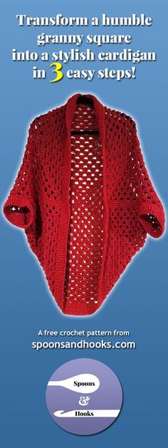 This granny square cocoon cardigan can be made in three easy steps by anyone who has mastered basic crochet skills