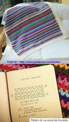 """V-Stitch Blanket, free pattern by Angie of Le monde de Sucrette. Not the standard V-stitch -- less """"holey"""" with a neater, tighter look from using DC2tog. Foundation chain multiple of 3 + 2.  Would be good pattern to use with bouclé yarn like Homespun. Pic from Ravelry Project Gallery by Maryfairy   . . .  ღTrish W ~ http://www.pinterest.com/trishw/  . . . #crochet #afghan #throw"""