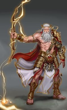 Zeus by Oh Yong Roh on ArtStation. Fantasy Character Design, Character Design Inspiration, Character Art, Greek And Roman Mythology, Greek Gods And Goddesses, Dark Fantasy Art, Fantasy Artwork, Roman Gods, Fantasy Warrior