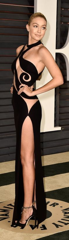 Gigi Hadid in a sheer Versace dress at the Vanity Fair Oscars afterparty