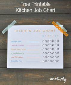 Free Printable Kitchen Job Chart for Kids   #SparklySavings #cbias #shop