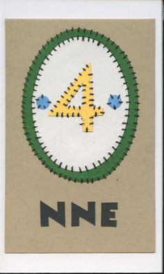 nne (four)... swahili flashcards 4x6 inches hand-cut and sewn paper collage