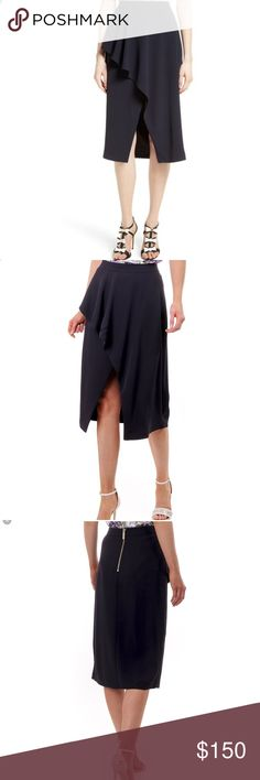 Ted Baker Womens Daffnie Frill Front Skirt Blue Ted Baker Womens Daffnie Frill Front Skirt Dark Blue.  Add some frills to your frock with the Ted Baker Daffnie midi skirt. This fold over design is both feminine and sophisticated, perfect teamed up with a simple camisole top. Ted Baker Womens Daffnie Frill Front Skirt Dark Blue Colour - Navy  Front frill with cross over design Shorter open cross over front Back zip fastening  Midi skirt  Content - 100% Polyester / Lining: 97% Polyester - 3%…
