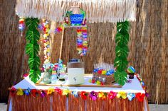 Luau Beach Surf Swim Pool party idea decor supplies planning food table