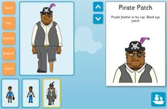 Create pirate characters - choose appearance, facial expression and special attribute! Name your pirates and write descriptions. Great for stimulating descriptive writing