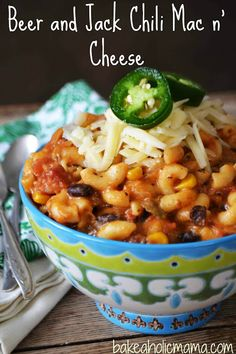 Beer and Jack Chili Mac, a vegetarian beer chili mixed with a beer and pepperjack mac n' cheese. Via @bakeaholicmama-will not be vegetarian!