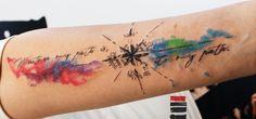 enhancertattoo  http://enhancertattoo.deviantart.com/art/Water-color-compass-tattoo-457572363