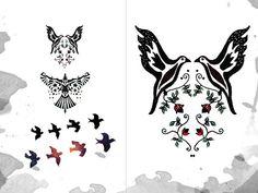 Birds Stars Flowers Temporary Tattoos  4 tattoos by YoyoArtLab