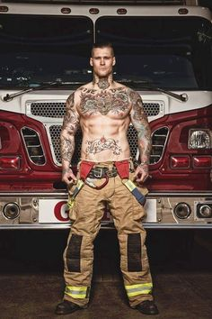 firefighters Hot with tattoo men