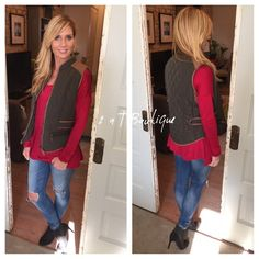 Olive vest with suede detail Solid mandarin collar quilted diamond texture vest featuring faux suede detail and zippered pockets on front. Available in size S(2-4) M(6-8) L(10-12). Color: Olive.  TK1975202.  Suzanne is modeling size small in first photo. She is size 2/4. 2 a T Boutique  Jackets & Coats