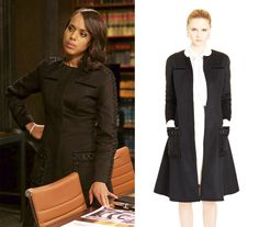 As seen on TV, worn by Olivia Pope on Scandal. Scandal Fashion, Olivia Pope, Kerry Washington, Work Outfits, Ribbon, Dressing, Design Inspiration, Coats, Tv