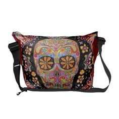 Shop Colorful Sugar Skull Art Messenger Bag created by thaneeyamcardle. Crane, Sugar Skull Art, Sugar Skulls, Skull Fashion, Punk Fashion, Lolita Fashion, Pack Your Bags, Messenger Bag Men, Beautiful Bags