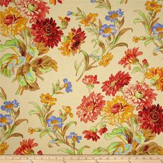 Kaffe Fassett Anne Marie Gold from Designed by Philip Jacobs for… Cool Fabric, Fabric Art, Fabric Design, Quilting Fabric, Floral Fabric, Floral Prints, Shades Of Yellow, Brown Shades, Yellow Quilts