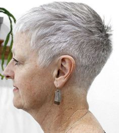 60 Gorgeous Gray Hair Styles Short Tapered Haircut For Women Short Taper Haircut, Tapered Haircut For Women, Short Hair Cuts For Women, Pixie Haircut, Short Hairstyles For Women, Hairstyles Haircuts, Short Hair Styles, Short Haircuts, Short Silver Hair