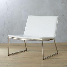 "$229. MAYBE. triumph chalk lounge chair  | CB2.  29""Wx27""Dx27""H"