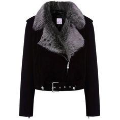 La Bete Black Suede Biker Jacket (390.080 HUF) ❤ liked on Polyvore featuring outerwear, jackets, coats & jackets, coats, multi, black studded jacket, black moto jacket, black motorcycle jacket, suede jacket and black jacket