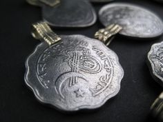Beautiful vintage-style Afghani set of coins, featuring 8 coin pieces. Coin Pendant, Pendant Set, Diy Jewelry Findings, Old Coins, Bead Shop, Bead Crafts, Diy Crafts, Silver Beads, Artisan Jewelry