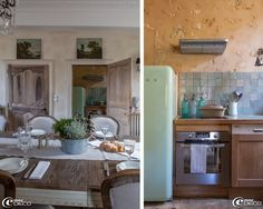 """Kitchen of the guest house Hotel de Suhard 'refrigerator' Smeg 'credenza Moroccan Zelliges home Emery & Cie' wall 'Chehoma' in 'The House of Mary """"Belleme"""