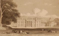 Heythorpe House, Oxfordshire, antique print, an engraving from the late Georgian period, published in 1831. The original drawing was done by J P Neale and it was engraved by C Mottram.